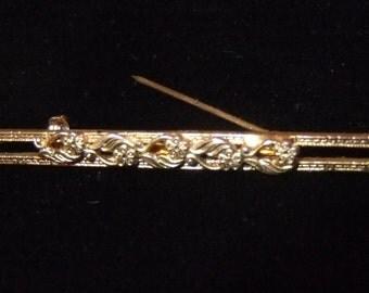 Freirich Bar Brooch, Antique Gold Finish,Delicate Filigree Floral