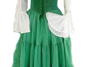 Renaissance Dress Chemise Corset Outfit 4 pcs Wench Pirate Medieval Steampunk Costume Celtic Cosplay Fair Green