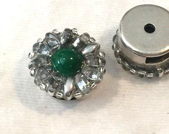 SALE: Handmade  10mm Flat Leather Flower Slider, Silver Crystal, Green
