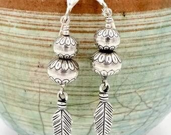 Vintage CAROLYN POLLACK EARRINGS Relios Sterling Silver Feather & Bench Bead Dangle Earrings