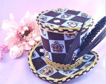Alice Parade Mini Top Hat Blue- Checkered, Gold, Black, Miniature, hat, mini hat, headpiece, accessory, lolita, gothic, pageant, wonderland