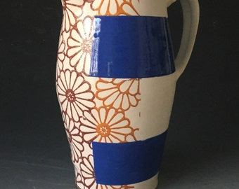 Pitcher with Flower Pattern and Blue Stripes