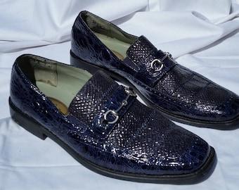 HUGO VITELLI Mens Dark Blue Faux Leather Reptile Rockabilly Pimp Shoes