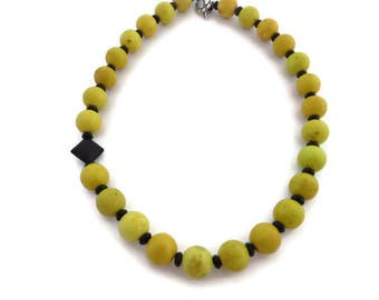 Yellow Necklace, Chunky Yellow Bead Necklace, Yellow Turquoise Necklace, Black and Gold, Asymmetrical Bead Necklace, Yellow Statement