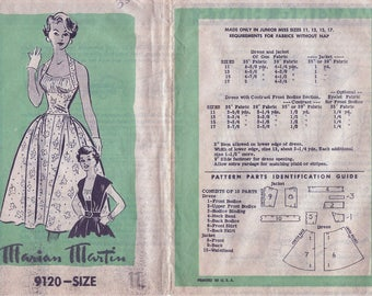 1950s Marian Martin Mail Order 9120 Women's Dress & Jacket Sewing Pattern UNCUT