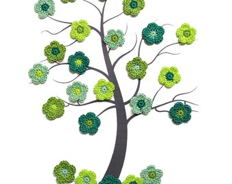 24 tiny crochet flower appliques 0.8 inches, green mix