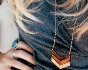 Wood Necklace / OMBRE CHEVRON / 5-year Anniversary Gifts for Women Salvaged Reclaimed Wooden Jewelry Unique Wood Anniversary Gift For Her