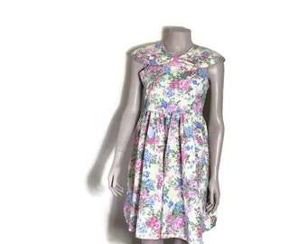 Yellow floral prom dress // 80s does 50s // 1950s style fitted dress // off the shoulder dress // pretty floral short dress // fit and flare