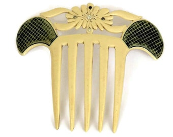 Antique Bone Hair Comb with Rhinestones. Mantilla Comb.