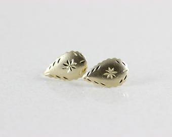 14k Yellow Gold Tear Drop Earrings Etched Diamond Cut Stud Earrings