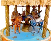 Vintage Carousel Wind Up Toy Merry Go Round