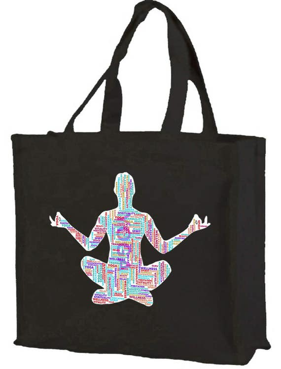 Yoga Word Cloud Cotton Shopping Bag with gusset and long handles, 3 colour options