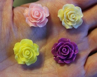 8 resin cabochons roses, 18-20 mm x 9 mm, one pair of each color yellow, ivory, purple, and light pink, flat back