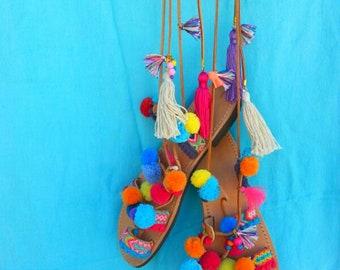 "RiRiPoM, Tie Up Gladiator Leather Sandals, Boho Chic Sandals, Greek Leather Sandals, Boho Sandals, Pom pom Sandals, ""Salome"""