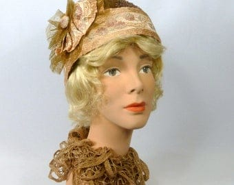 Taupe Woven Straw Cloche Hat - Vintage Crin and Brocade Ribbon Accents - 1920s - 1930s Style - Flapper - Downton Abbey - Gatsby