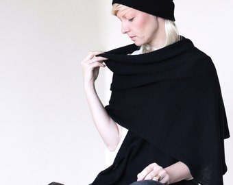 Big black shawl, warm shoulder stole, knitted from merino extrafine
