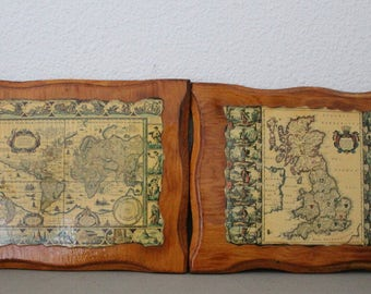 Decoupage Old World Maps c1970s