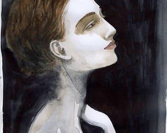 Watercolor portrait of woman gazing, daydreaming, artwork, 8x10 Giclee PRINT, Wall Art