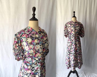 1930s floral rayon dress