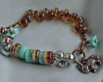 mint green boho style, mixed media wearable art, glass art, peter cottontail bracelet
