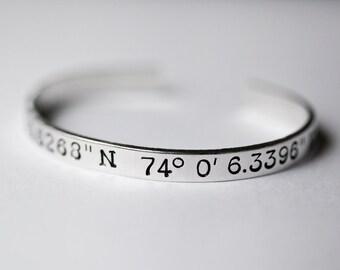 Custom Coordinates Bracelet - Aluminum, Brass, or Copper - Metal-Stamped Bracelet - Custom Coordinates Jewelry - Cuff Bracelet