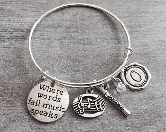 MUSIC GIFT, Silver Plated Bracelet, Flute Music Charm, Flute Bracelet, Flute gift, Flautist Jewelry, Where words fail music speaks