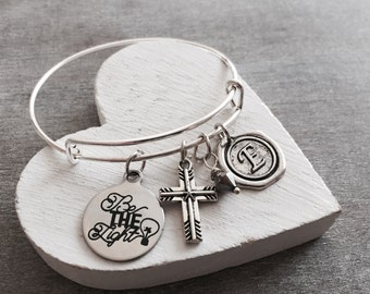 Be the light, Positively, Christian, Inspirational, Motivational, Quote,  Silver Jewelry, Silver Bracelet, Charm Bracelet, Gifts for