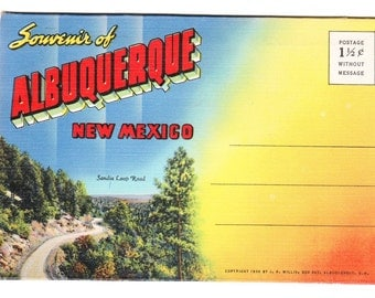 Albuquerque New Mexico Vintage Souvenir Postcard Folder (unused)