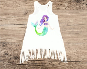 Mermaid Dress for Baby and Kids, Beach Tank Top Dress with Fringe