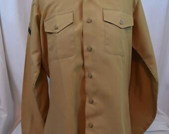 Vintage USMC long sleeve khaki military shirt