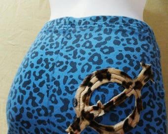 Super Mini Skirt Leopard blue punk squat