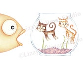 Fishbowl - Blank Greeting Card from original colored pencil illustration