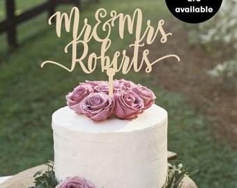 mr and mrs cake topper, Last Name Cake Topper, Personalized Cake Toppers, Wedding Cake Topper, CT-007