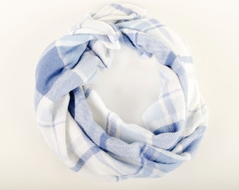 Blue flannel baby infinity scarf, Blue plaid toddler scarf with snaps, Teething baby scarf bib, Blue and white flannel, Plaid Toddler cowl