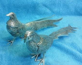 A Set of Silver plated Pheasants
