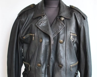 Vintage LEATHER JACKET , women's motorcycle jacket , fashion leather jacket...(042)