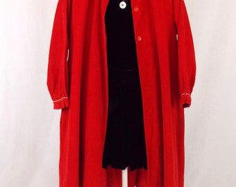 Girl's Vintage Red Corduroy Swing Coat Tedda Togs