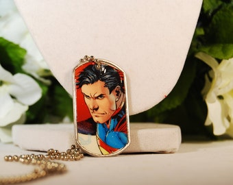 Superman Dog Tag Necklace OOAK
