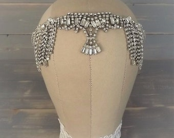 Art Deco Chain Drape Headpiece, Vintage, Egyptian Headpiece, 1920's Flapper Headband, Gatsby Headpiece, Rhinestone, Drape, Bridal, Wedding
