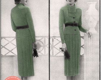 1930's Winter Suit Knitting Pattern - Instant Download - PDF