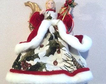 Vintage 1990's Christmas Angel Tree Topper, Traditional Holiday Family Gift Idea, Christian Christmas Gift Idea, Collectible Angel Figurine