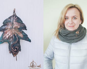 Electroformed leaf brooch,  copper-plated,  natural leaf covered with copper, copper brooch/  eco friendly