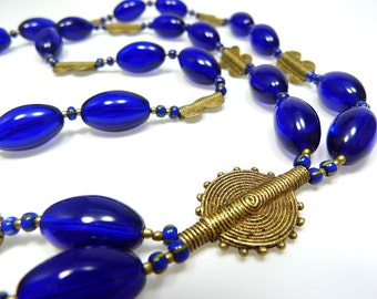 Long chain from African brass beads and Czech glass beads