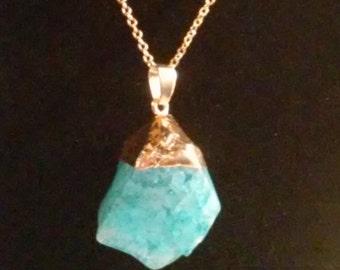 Your Choice of Four Aqua Blue Quartz Point  20 inch Gold Pendant Necklaces