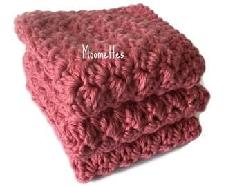 Handmade Dish Cloths Dark Rose Pink Wash Cloths Crochet Kitchen Dishcloths Eco Friendly Cotton Shabby Set of 3