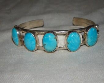 2C Stamped Sterling & Turquoise Bracelet