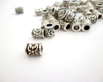 Silver Tone Large Hole Metal Beads_PM54510083547/004_Metal Beads_Small Silver Tube of 5x7 mm hole 3 mm pack 50 pcs