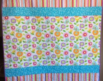 Baby quilt, baby girl quilt, toddler quilts, modern baby quilts, handmade quilts, colorful birds