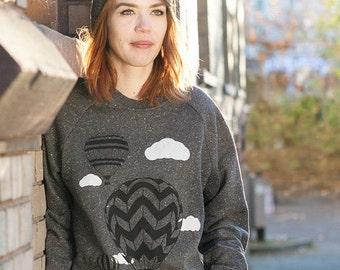 Hot air balloons-women organic fair wear sweater-black twist