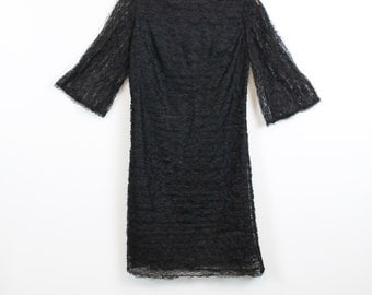 1960s Dress Black Floral Lace 60s Vintage BELL SLEEVE Mini